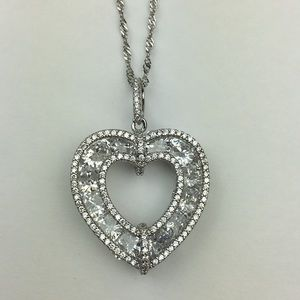 Jewelry - 925 Sterling Silver Cubic Zirconia Heart Necklace